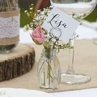 4 Glass Vase Place Card Holders